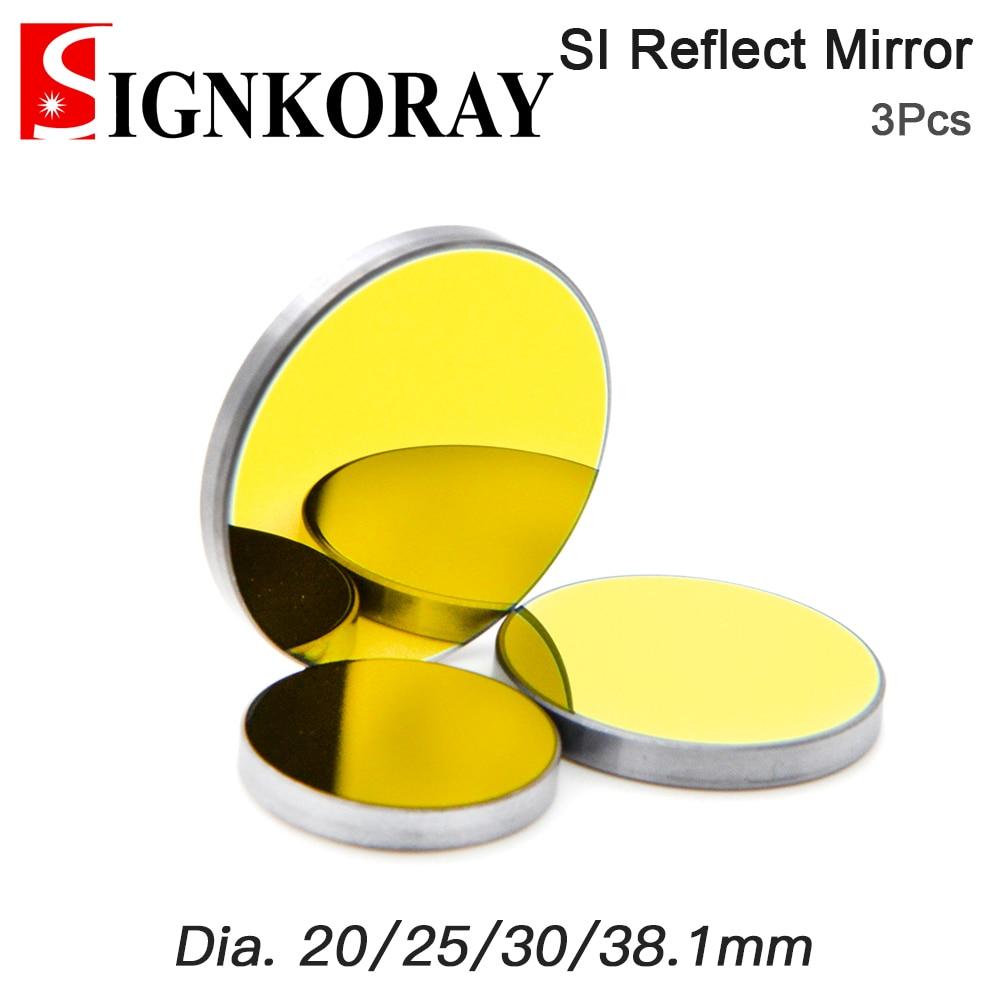 Signkoray 3 pces co2 laser si espelho reflexivo para gravação a laser gold-plated silicone refletor lentes dia.19 20 25 30 38.1mm