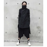 2020 winter new fashion stand lead irregular long cotton padded jacket punk style loose coat solid black jacket