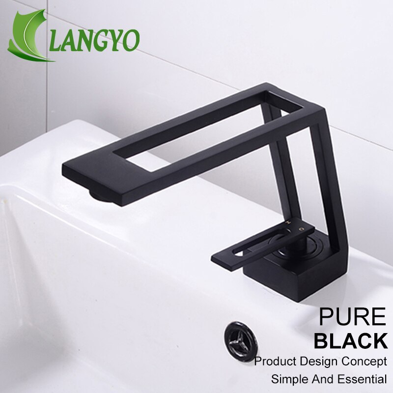 LANGYO-حنفيات حوض الحمام المنحنية ، مثبتة على سطح السفينة ، بمقبض واحد ، خلاط مياه ساخن وبارد
