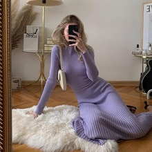 2021 European and American style new spring and autumn women's long sleeve open back slim fashion dr