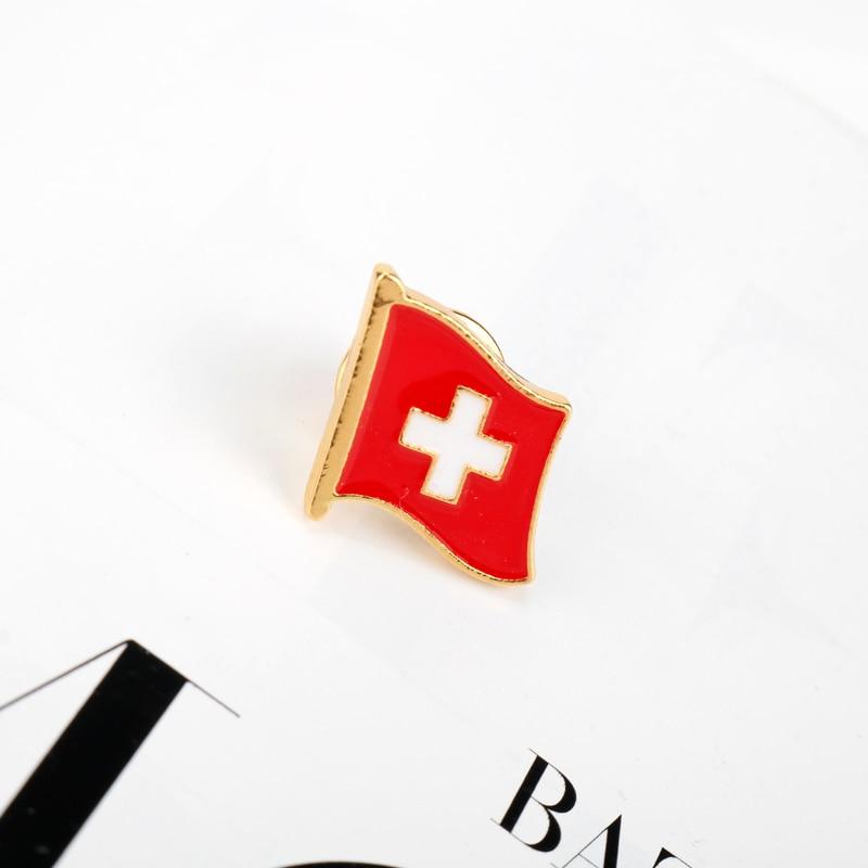 Suisse émail broche drapeau épinglette Badges pour femmes hommes vêtements sac à dos sacs chapeau badge cadeaux