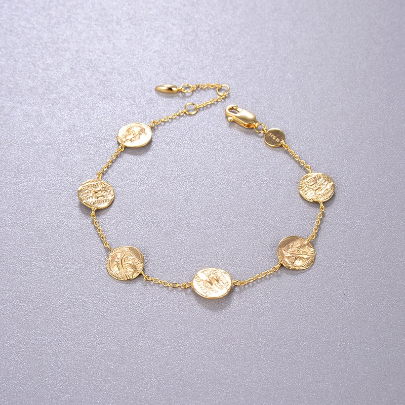 CMajor, joyería fina chapada en oro de plata esterlina, moda elegante con carácter, retrato de moneda Vintage romana, pulsera de cadena para mujer