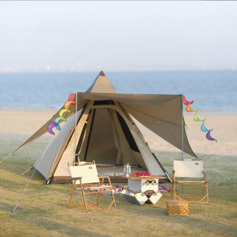 في الهواء الطلق التخييم الهندي الهرم خيمة التلقائي ظلة و واقية من الشمس طبقة مزدوجة غير نافذ للمطر خيمة Minaret