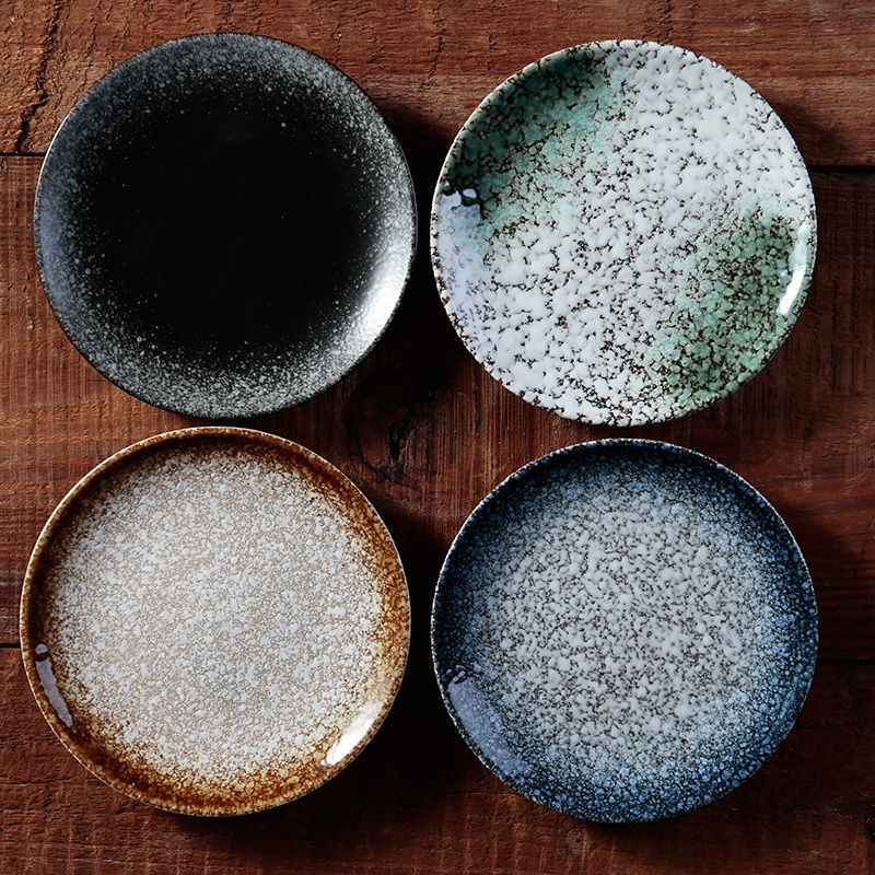 Plato redondo para pan y mantequilla de 6/7/8 pulgadas, vajilla de cerámica japonesa, plato geométrico para postres, vajilla de porcelana