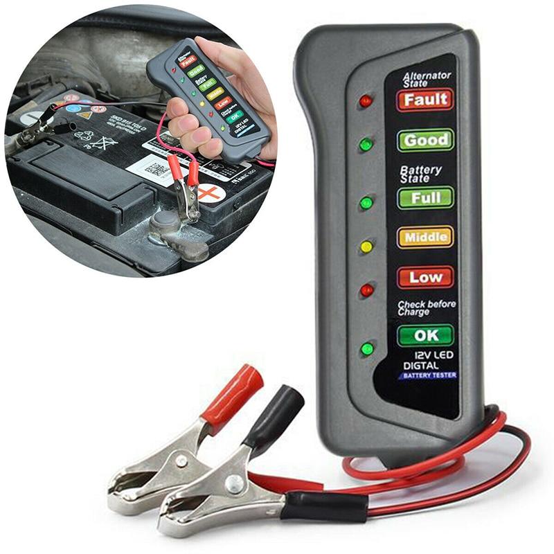 12V автомобиль Батарея тестер цифровой генератор переменного тока тестер 6 светодиодный свет Дисплей автомобильный диагностический инструм...