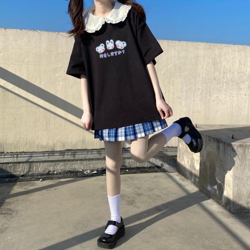Japanese Jk Girl Top Summer Women O-Neck T-Shirt Harajuku Kawaii Cute Clothing For Female 2021 Fashion Soft Sweet Cotton Tee  - buy with discount