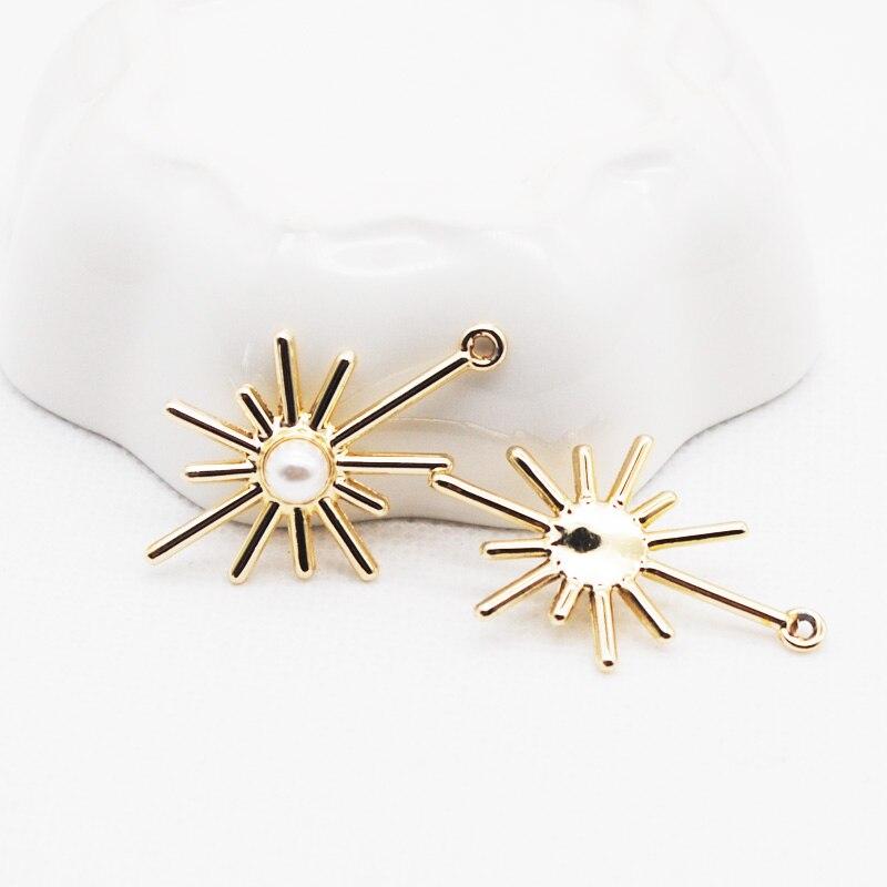 10 unids/lote de dijes de tono de Color dorado y plateado con imitación de pendientes de perlas joya accesorios para pulsera collar de 20x23mm