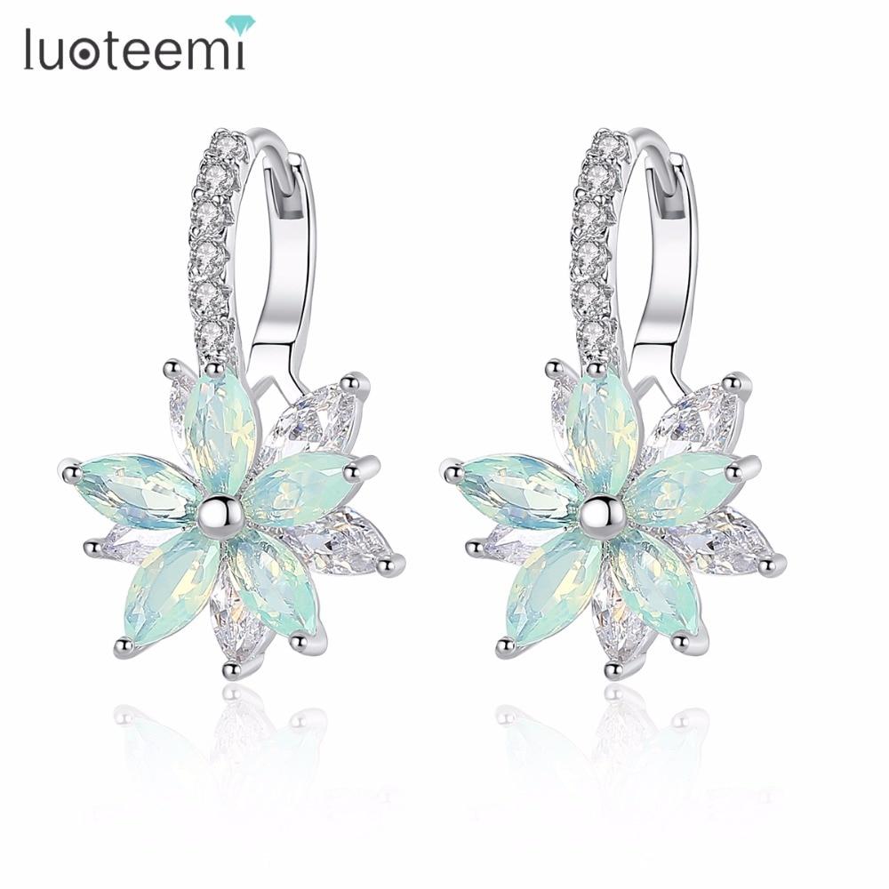 LUOTEEMI Fashion Cubic Zirconia Fancy Crystal Flower Stud Earrings for Women Girls Jewellery Valentine Day Gift Bohemia Bijoux