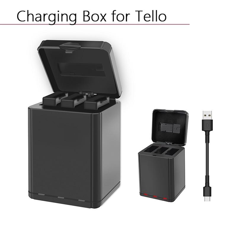 Cargador de batería inteligente rápido Hub 3 en 1 cargador inteligente USB caja de almacenamiento de carga para DJI Tello Cable tipo c accesorios de Dron