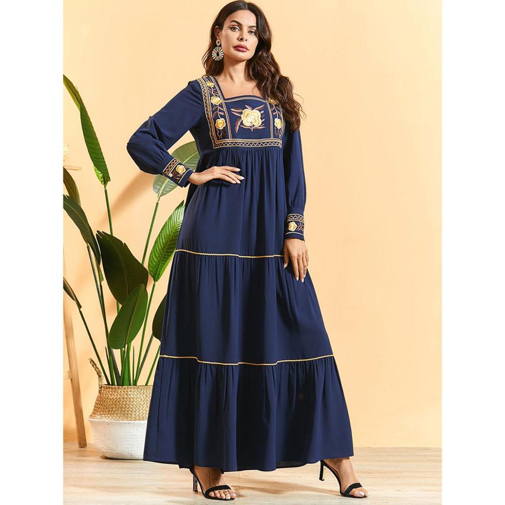 Outono floral bordado manga longa maxi vestido plus size drapeado abaya mulher ramadan kaftan dubai robe islâmico vestido judaico