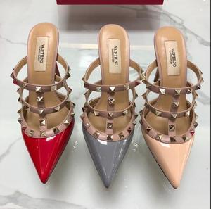 10cm Thin Heel Women Sandal Classics V Brand Real Logo Rivets Shoes Women High Heel Wedding Shoes Party Shoes 34-43 Dust Bag
