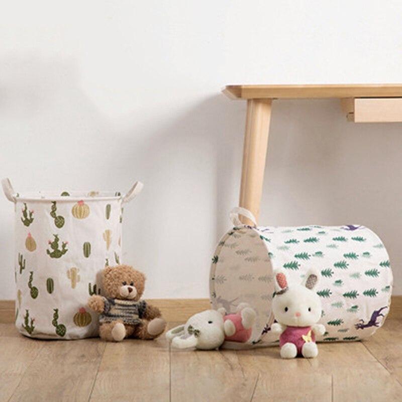 Bolsa de lavandería de lino y algodón plegable, bolsas con impresión bonita, cesta de ropa sucia, cesta de juguetes para niños, cestas de almacenamiento para el hogar