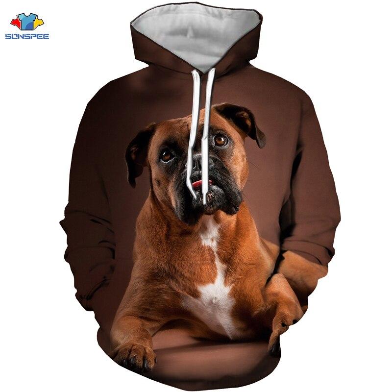 SONSPEE nuevo 3D lindo Animal calzoncillos para hombre perro Sudadera con capucha calle Anime divertido perro Boxer sudadera naturaleza bosque Animal cachorro niños sudadera