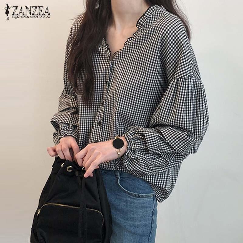 2020 ZANZEA otoño V cuello Chic blusa mujeres Casual manga larga camisas a cuadros elegante trabajo Check Ruffled túnica tops mujer blusas
