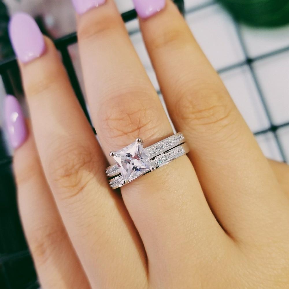 خواتم 925 من الفضة الحقيقية لعيد الحب ، خاتم الأميرة 1.5 قيراط ، مجموعة خواتم الخطبة للسيدات ، مجموعة الجملة R1944S