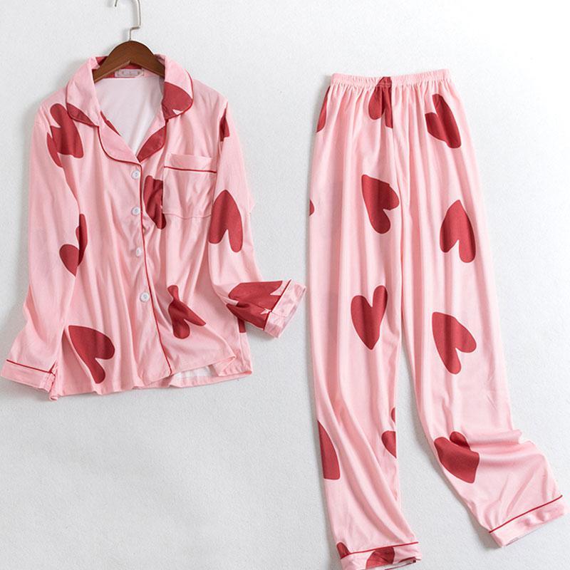 MISSKY 2019 New Women Pajama Sets Cartoon Printing Autumn Winter Long Sleeve Top +Pants Casual Homewear Female Sleepwear