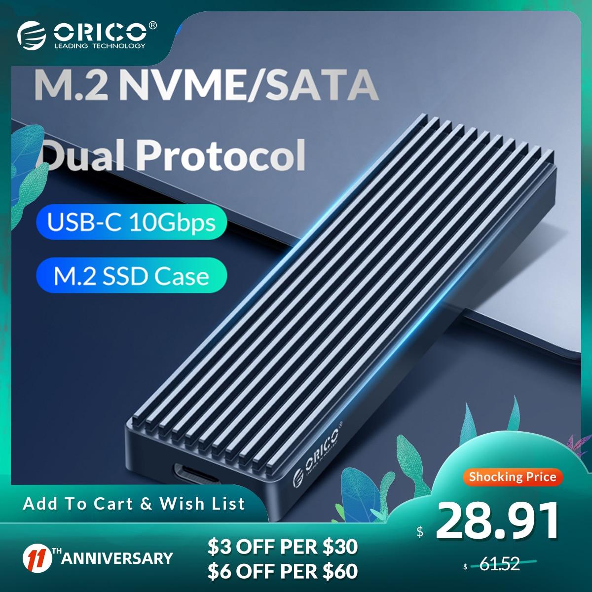 ORICO Dual Protocol M.2 SSD Case Support M2 NVME NGFF SATA SSD Disk For PCIE M Key B+M Key USB C 10Gbps Hard Drive Enclosure