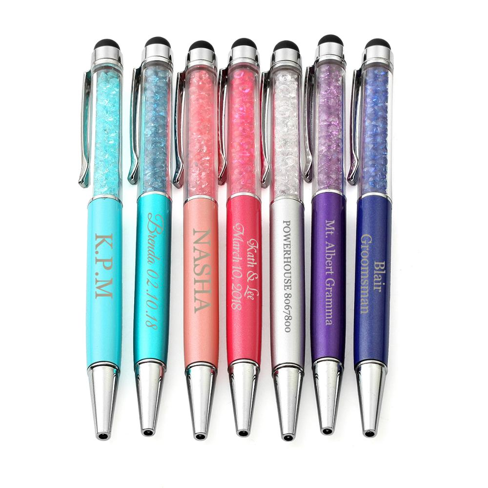 20 personalizado 2 em 1 presente esferográfica canetas, estilete capacitivo magro & preto tinta canetas combo stylus para iphone 7, ipad, tablets
