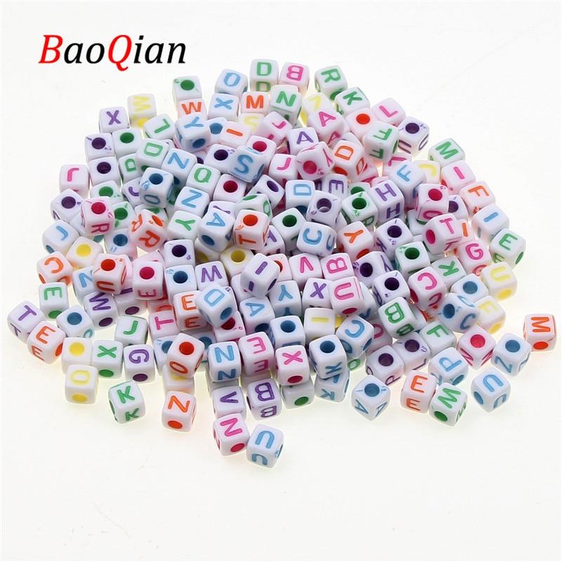 200pcs Loose Color 5mm Square Acrylic Letter Beads Jewelry Making Fashion Necklace Bracelet Bracelet Gasket Bead DIY Accessories