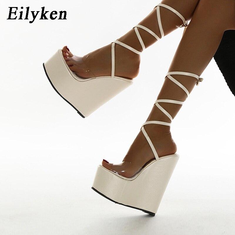 Eilyken 2021 Summer Lace-Up Solid Women Platform Wedges Sandals Fashion High heels shoes Ladies Open toe Sandals size 35-42