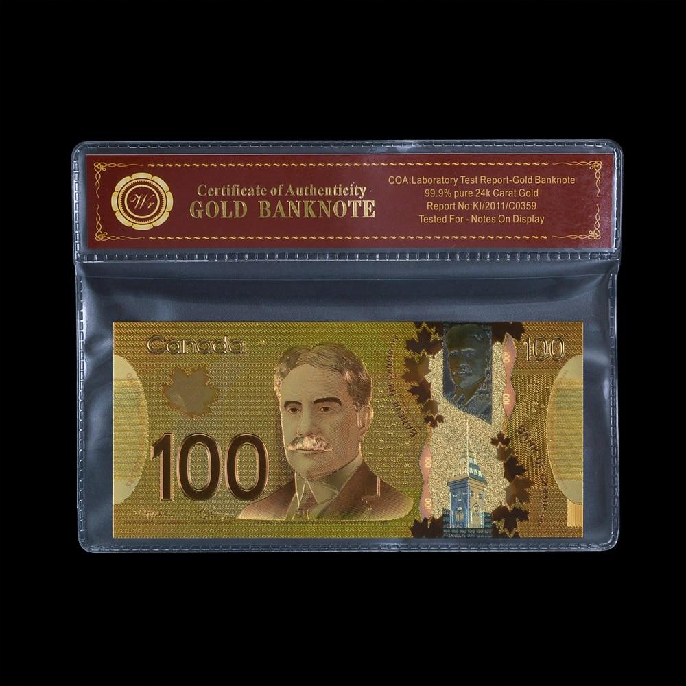 Wr dinheiro falso 100 dólar do canadá lembrança notas dinheiro falso dinheiro banhado a ouro nota bancária coleção presente para homem
