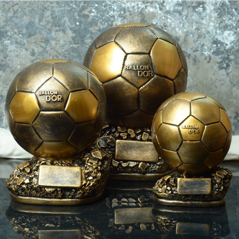 World Cup Football ballon DoR trophy golden ball MVP Trophy Final Shooter Players Electroplated Golden ball cup Award free print
