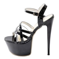 2021 summer new fashion high heels womens shoes sexy buckle strap black white red waterproof sandals party shoes size 47 48