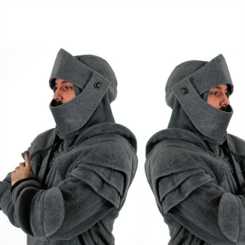 Cosplay medieval vintage Guerrero casco con cremallera con capucha sudadera soldado chaqueta abrigo camisa americana Europea disfraces de Carnaval