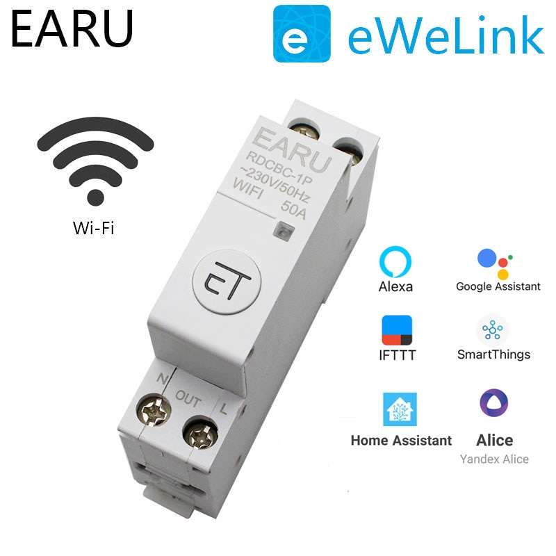 1P Din Rail WIFI Circuit Breaker Smart Timer Switch Relay Remote Control By EWeLink APP Smart Home Compatiable With Alexa Google