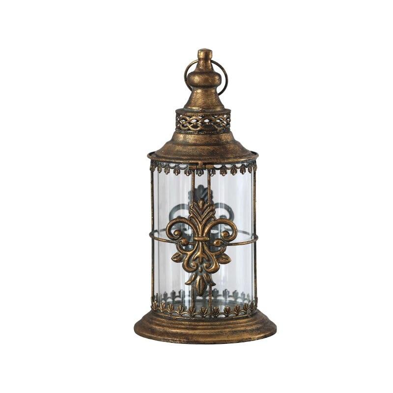 Portavelas Vintage francés de hierro forjado de vidrio colgante portavelas Portacandele marrón Legno Decoración de mesa de boda WB50ZT