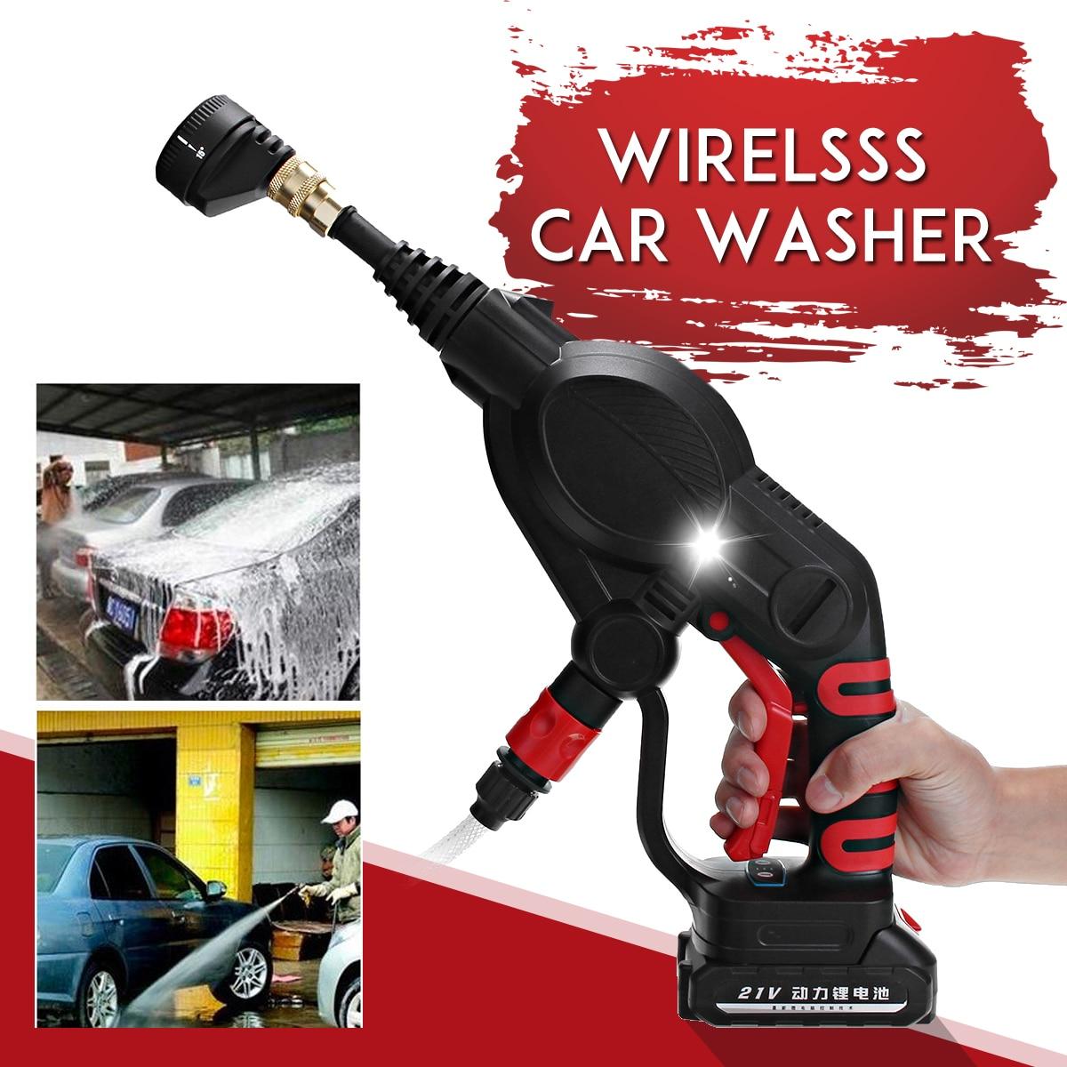 7 unids/set 20V coche lavadora inalámbrico coche recargable lavadora 2.6Mpa manguera de alta presión limpiador con 4000mAh batería de la batería lavadora