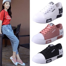 1 Pair Flats Shoes Sneakers Breathable Casual Cat Pattern Canvas For Women Lady Student sneakers low