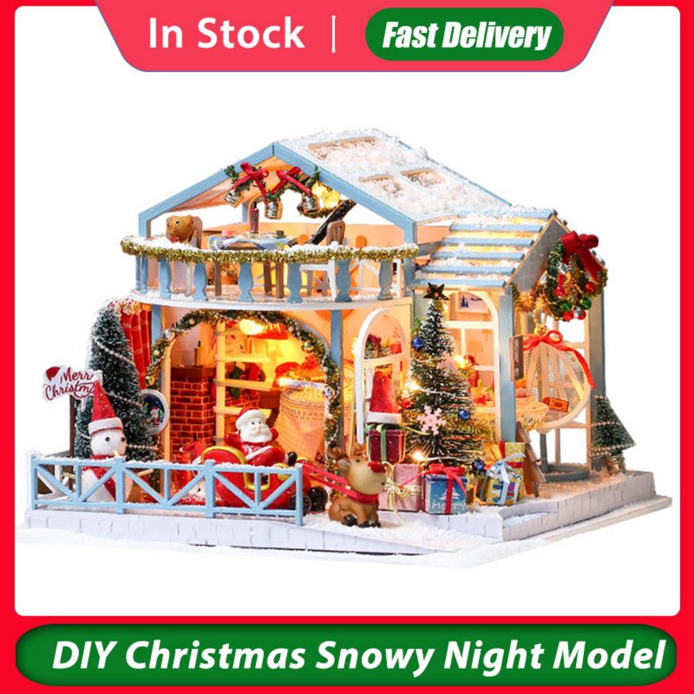 Christmas Snowy Night Dollhouse Model Assembled Christmas Wooden Dolls Houses DIY House Kit Christmas Gift Xmas Decoration