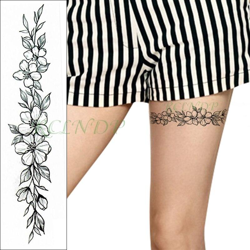 Autocollant de tatouage temporaire imperméable belle fleur totem bande faux Tatoo personnalité Flash jambe bras pied Tatto pour fille femmes hommes