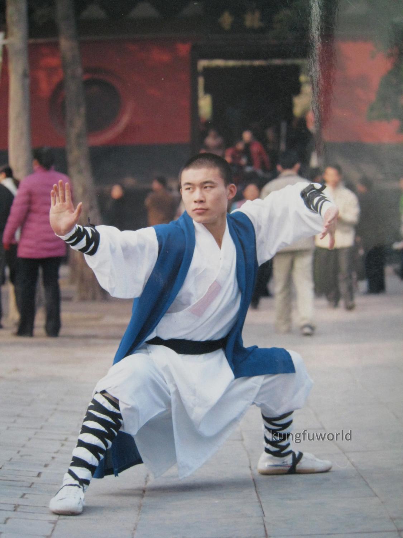 Schöne Weiße Farbe Shaolin Mönch Uniform mit Blau Lange Weste kampfkunst Wushu Kung fu Tai Chi Wing Chun Anzug karate Set