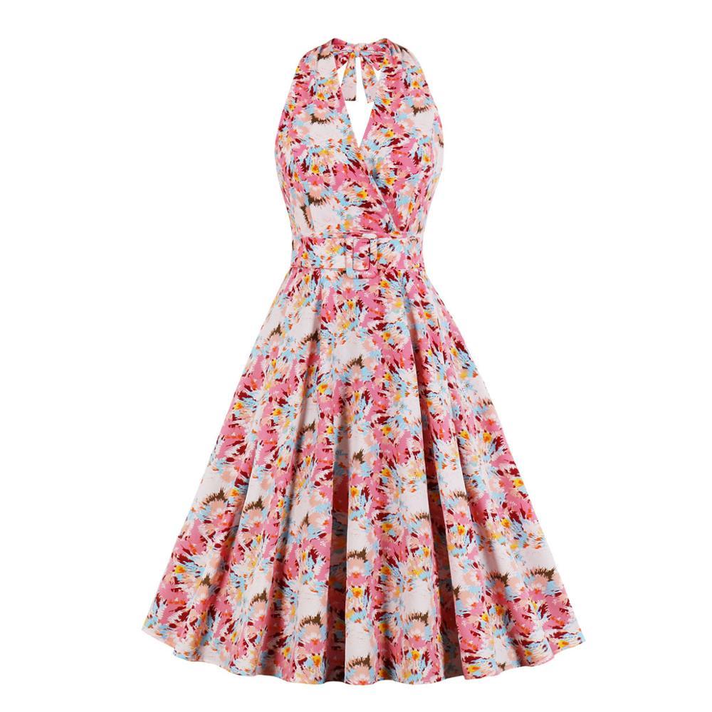 Sexy sin espalda Halter impresión vestido de fiesta de verano de 2021 sin mangas Pin Up Vintage Floral vestido de una línea de ropa de las mujeres Vestidos de Jurken