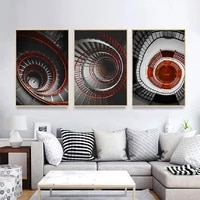 nordic spiral staircase living room wall art canvas paintings building wall art prints and posters living room home decoration