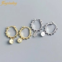 genuine 100 925 sterling silver small round pendant drop earrings for women trendy mini round beads earings fashion jewelry
