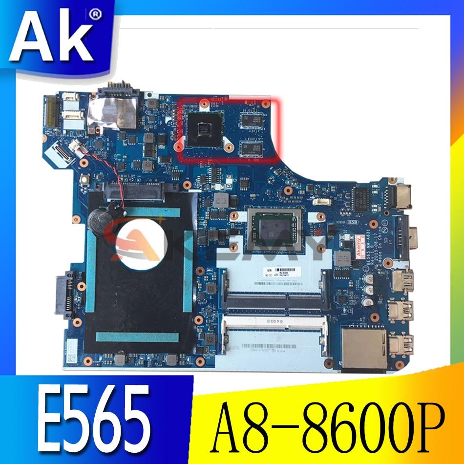 Akemy BE565 NM-A631 اللوحة الأم للكمبيوتر المحمول لينوفو ثينك باد E565 A8-8600P وحدة المعالجة المركزية راديون R6 M335DX اللوحة الرئيسية DDR3 اختبار كامل