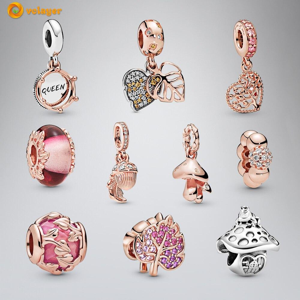 Volayer серебряные бусины 925 пробы розовые браслеты Пандора, королева и Королевская корона, подвески, оригинальные браслеты, Женские Ювелирные ...