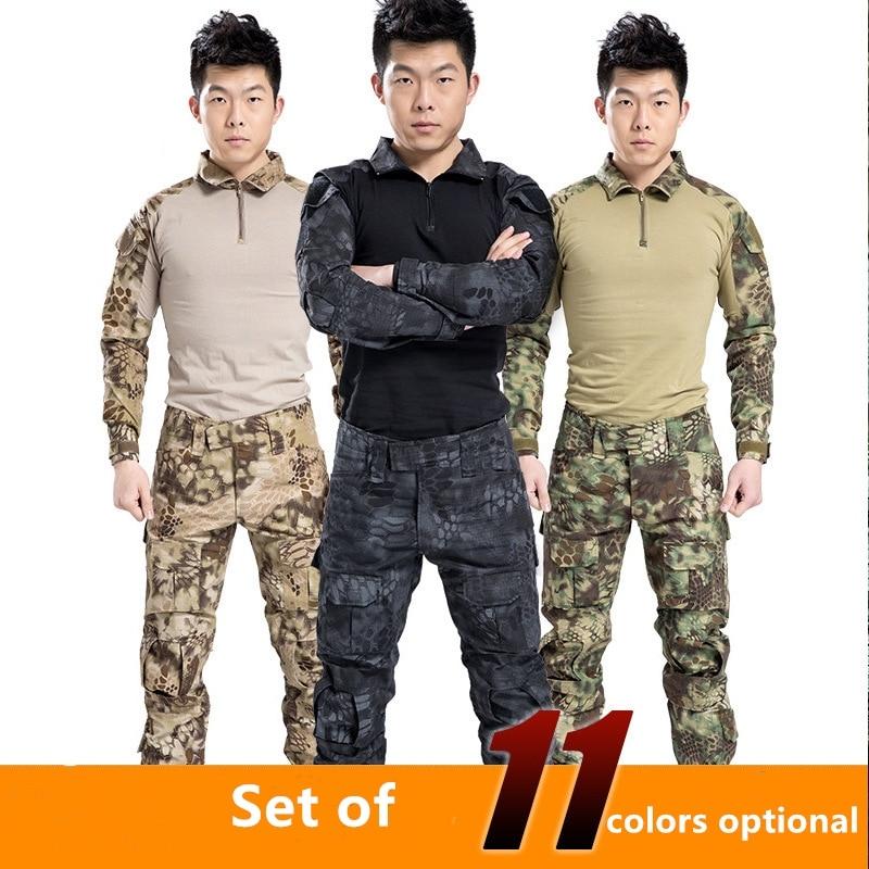 6 colores hombres ejército Militar uniforme táctico traje ayu Fuerzas Especiales combate camisa abrigo pantalón conjunto camuflaje Militar ropa para soldado