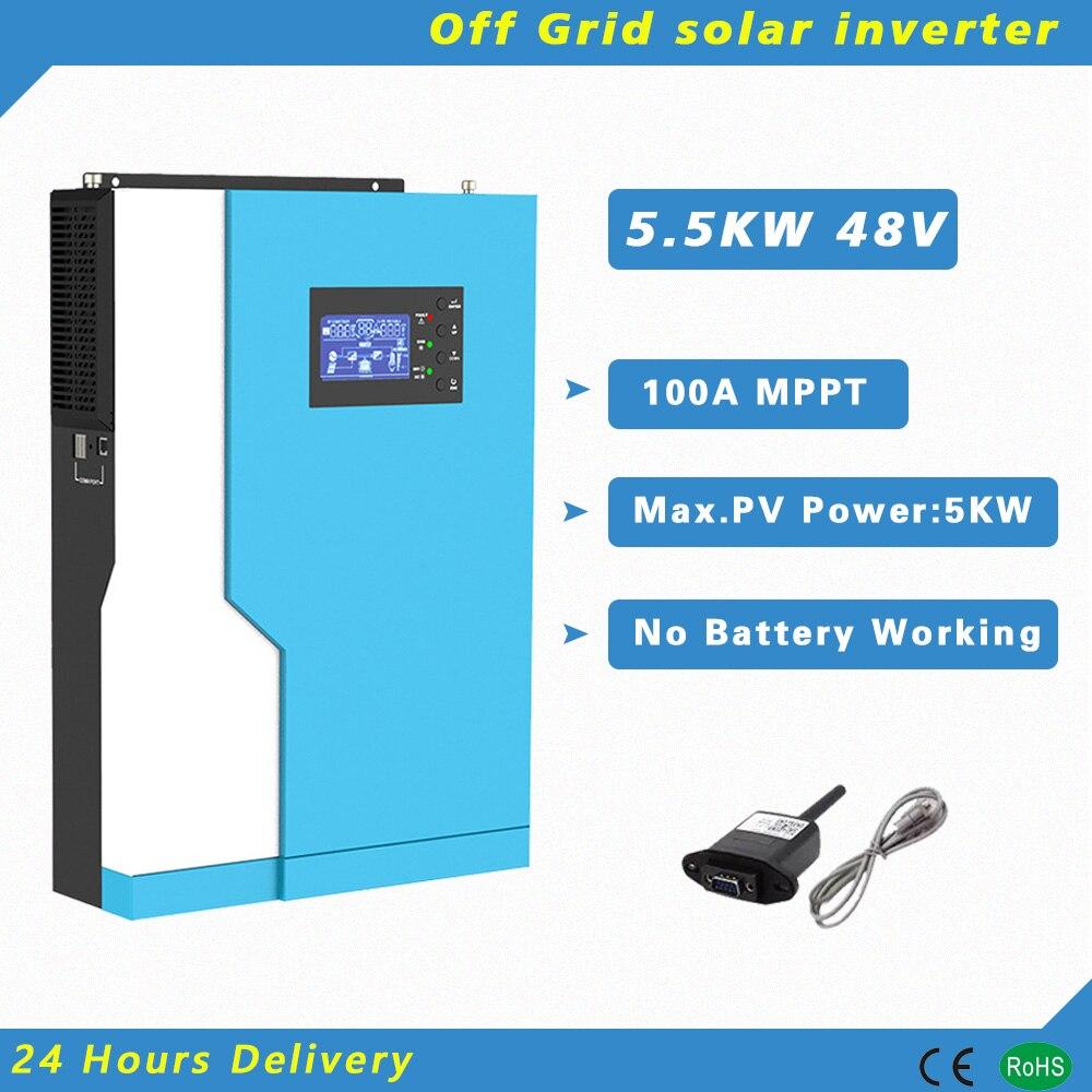 5500 واط 48 فولت عاكس شمسي هجين 100A MPPT جهاز تحكم يعمل بالطاقة الشمسية نقية شرط موجة مع WIFI رصد العمل بدون بطارية PV 120-500vdc
