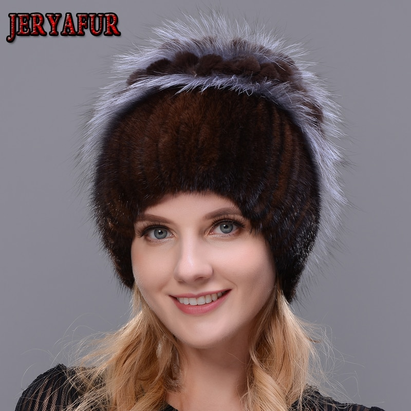 JERYAFUR موضة الثعلب الفراء أرنب الشعر الفراء القبعات للنساء الفاخرة قبعات المنك الحقيقي الدافئة في الشتاء الإناث beanies