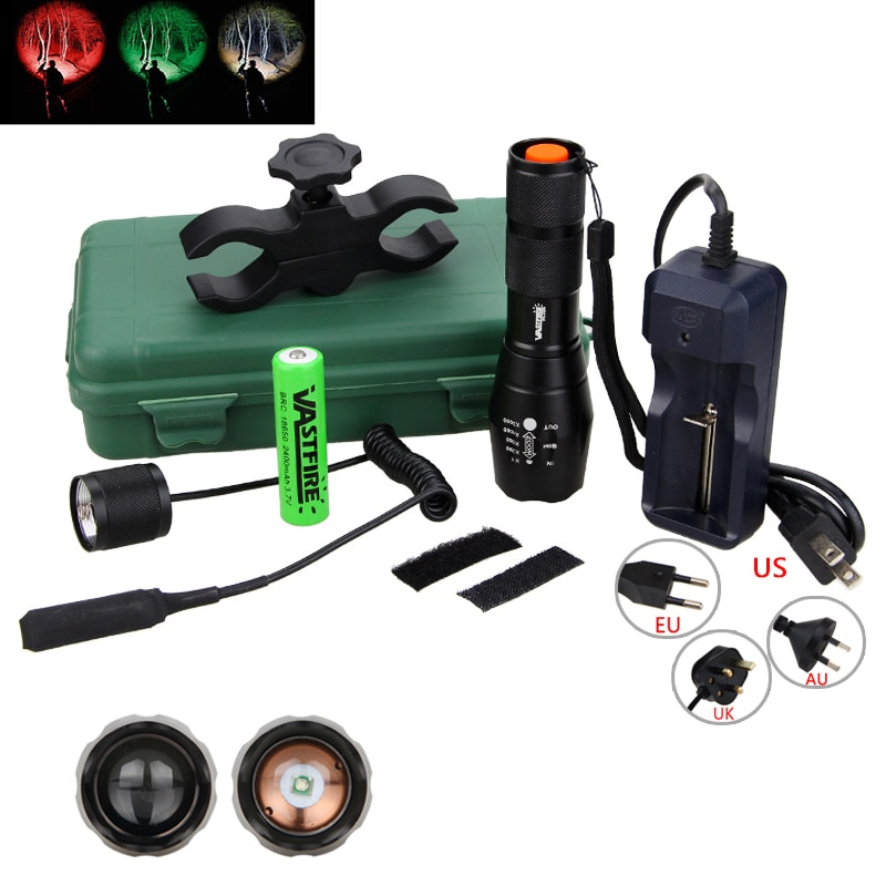 Green/Red/White Hunting Light 5000 Lumens Tactical Adjustable Focus Torch+Hunting Mount+18650 Batter