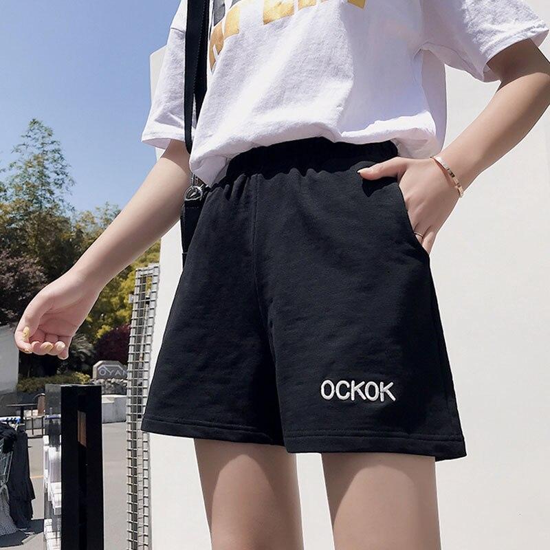 Шорты женские спортивные с высокой талией, винтажные свободные штаны в стиле Харадзюку, с поясом на резинке, лето 2021