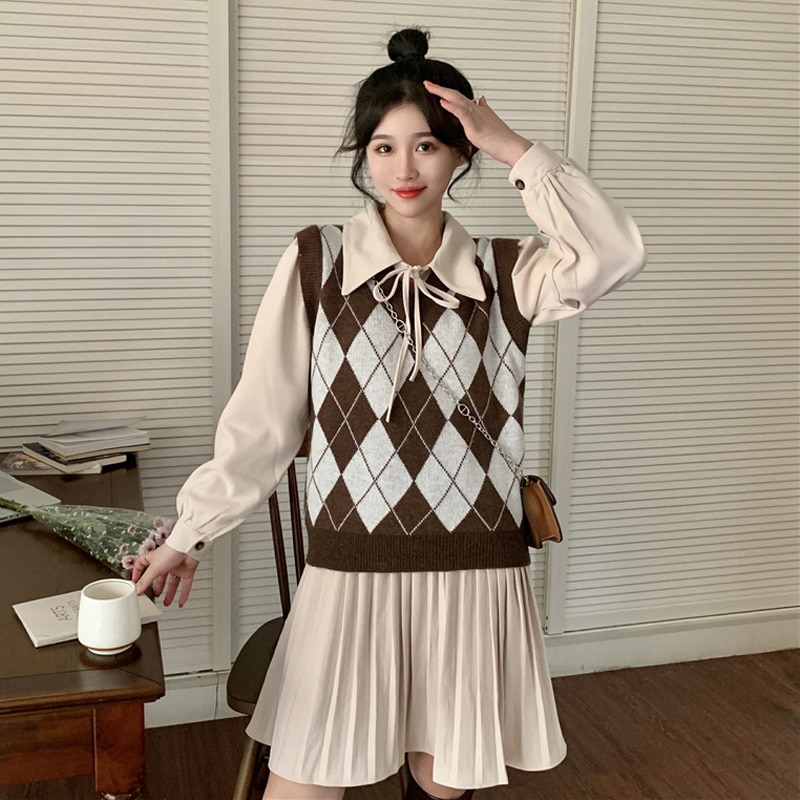 Women's Dress Suit Autumn Korean 2021 New High Waist Slim Age Reduction Chic Foreign Style Pleated Polo Collar Long Sleeve