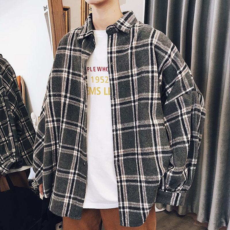 قمصان رجالية منقوشة لخريف وشتاء 2020 ، على الطراز الكوري ، ملابس أنيقة وفضفاضة على طراز هونج كونج ، قمصان بأكمام طويلة