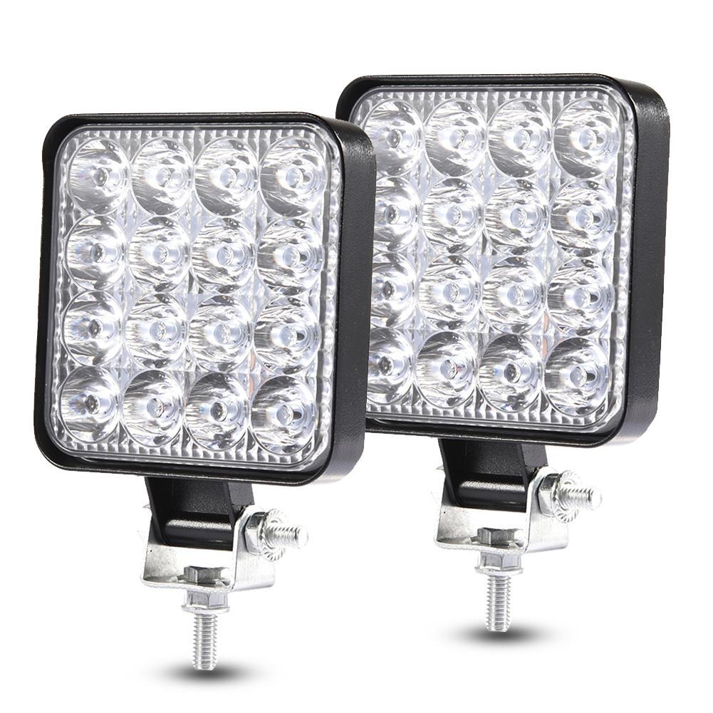 2PCS 48W Square Led Light Bar Offroad Work Light Led Fog Lamp Led Working Lights Beams Car Accessories for Truck ATV 4x4 SUV 12V