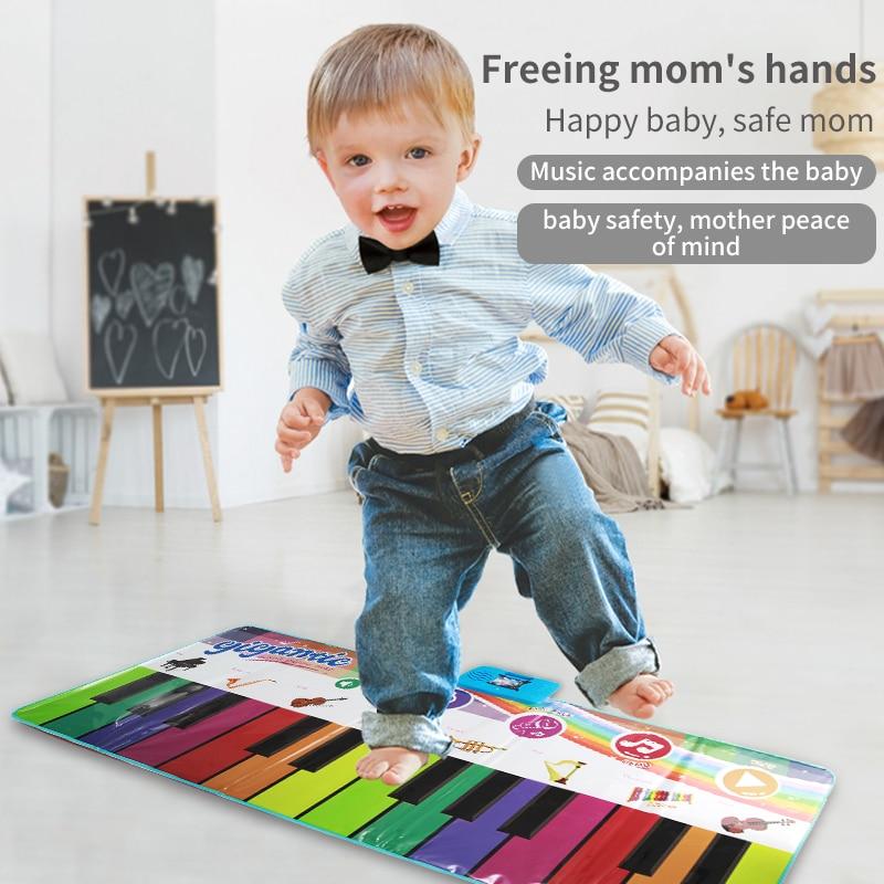 criancas toys180x72cm 24 teclas multifuncoes tapete de piano musical teclado tapete