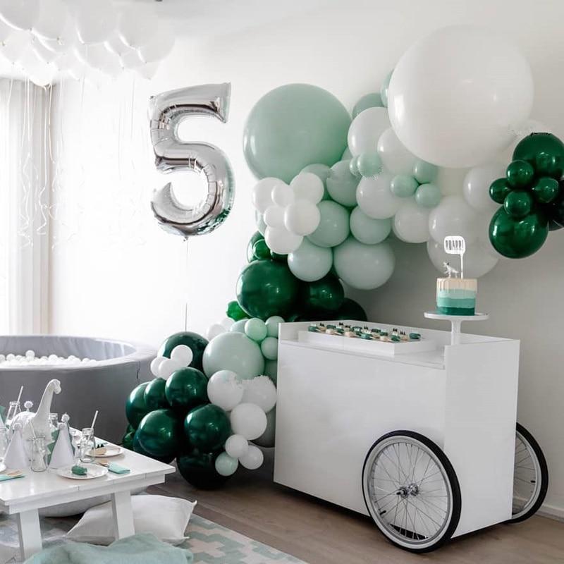 Bebé ducha Globo Verde guirnalda verde bosque boda globo Banner aniversario Globo Verde telón de fondo